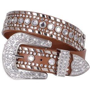 Accessories - Rhinestone Studded Western Leather Brown Belt